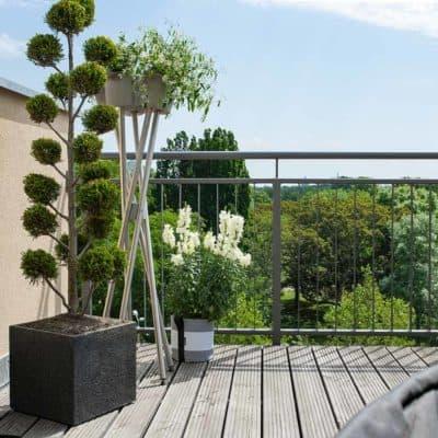 Blumenständer Übertöpfe Beton, Edelstahl