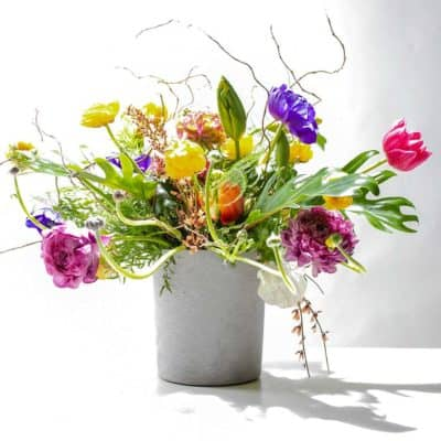 catchepot with fresh cut flowers