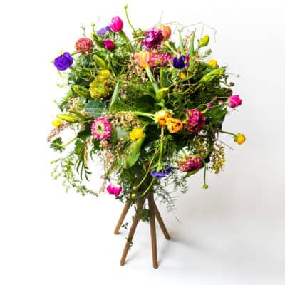 plant stand with fresh flowers